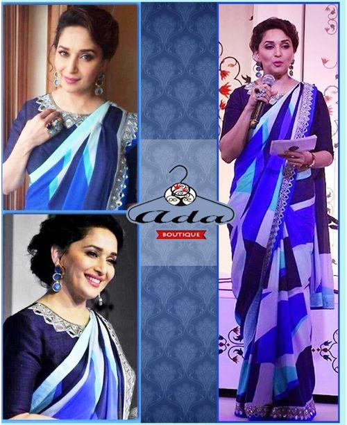 Madhuri Blue Designer Replica Saree