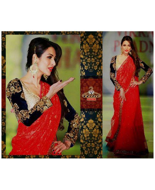 Malaika Red Black Saree