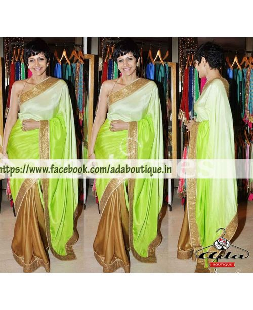Mandira Bedi Stylish Green Saree