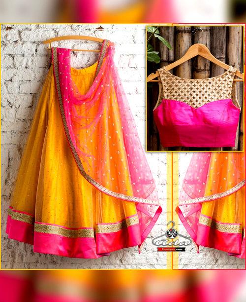 Mustard/Pink Lehenga Dress