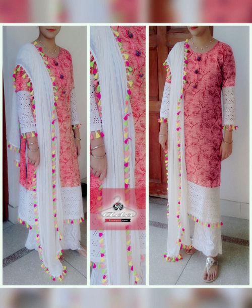Stylish Red/White Cutwork Dress