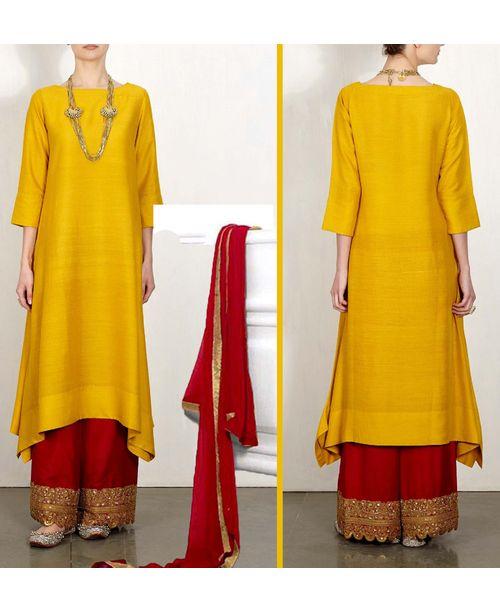 Trendy Mustard Red Dress