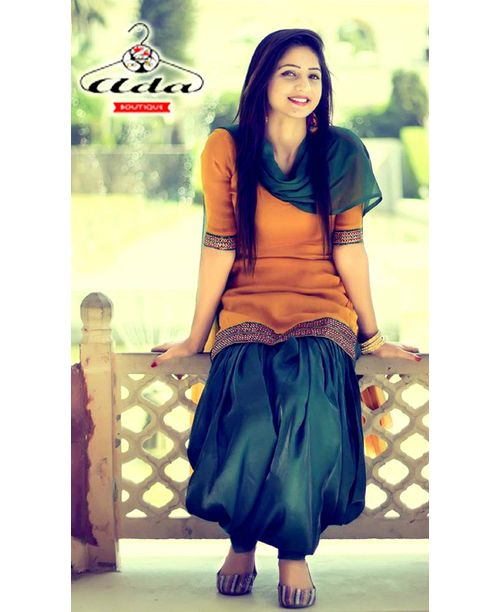 Stylish Mustard Green Patiala Dress