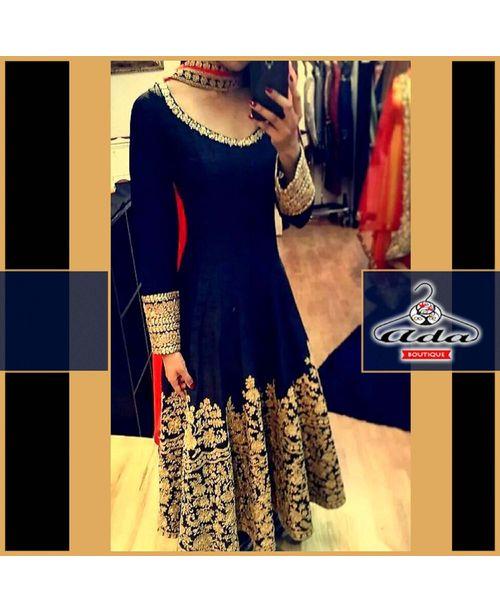 Stylish Navy Blue Velvet Dress