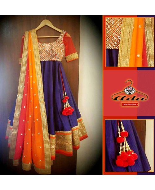 Navy Blue/Orange Dress