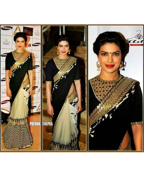 Priyanka Black/Beige Saree