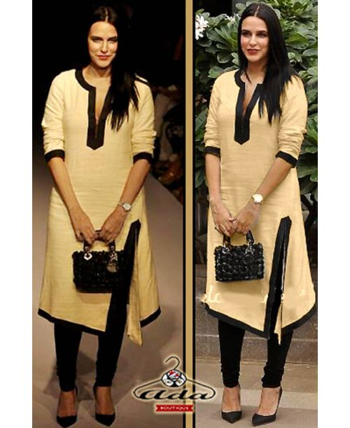 Neha Dhupia Beige/Black Dress