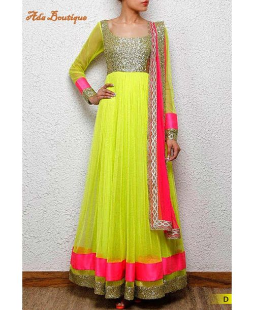 Sizzling Neon Anarkali Dress