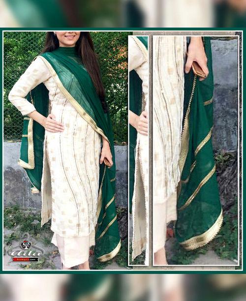 Off White/Green Dress