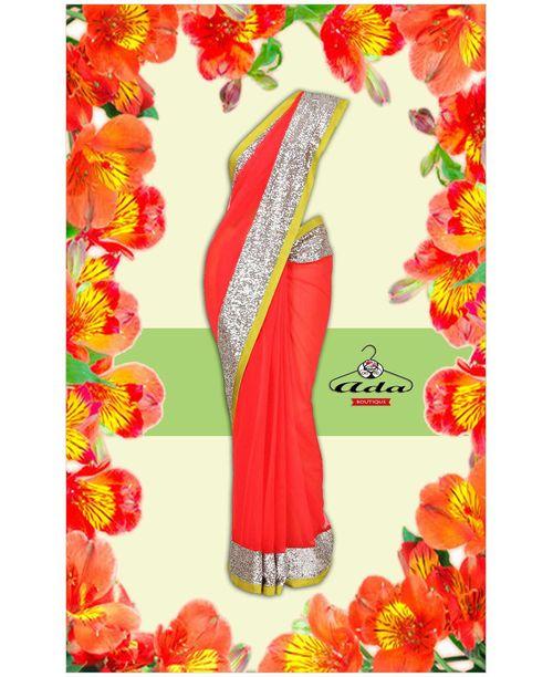 Stylish Orange Saree