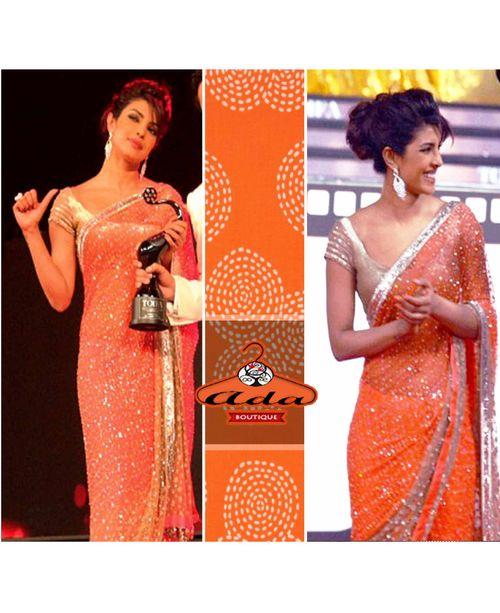 Stunning Priyanka Orange/Beige saree