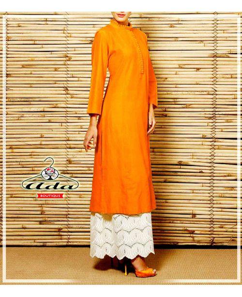 Stylish Orange /White Trendy Dress