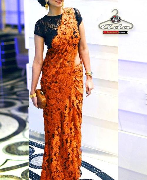 Orange /Black Saree Set