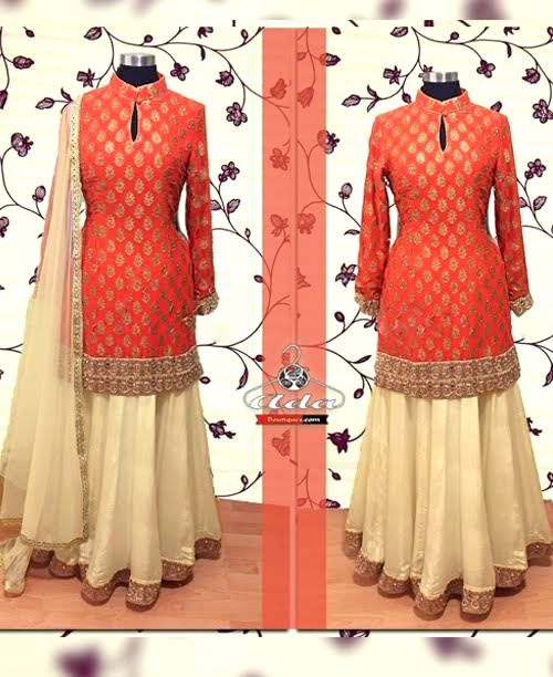 Orange/Creame Lehenga Dress