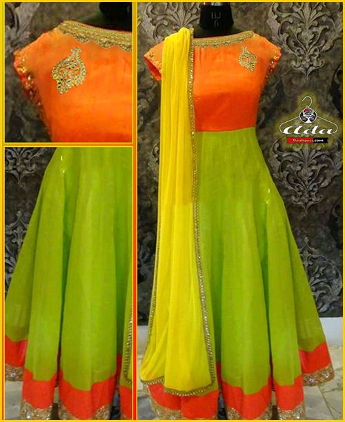 Ethnic Orange/Green Dress
