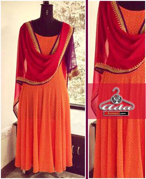 Orange/Red Anarkali Dress