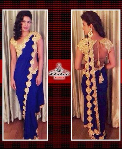 Priyanka Blue Golden Saree