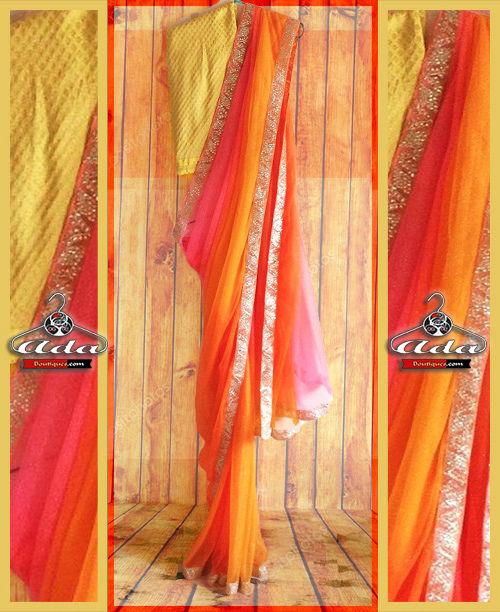Stunning Shaded Saree Set