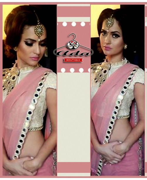 Pink Mirror Saree