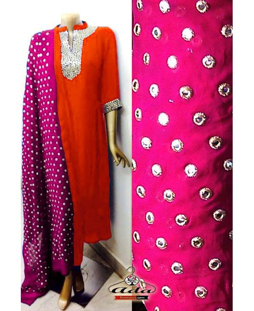 Sizzling Pink / Orange Mirror Work Dress