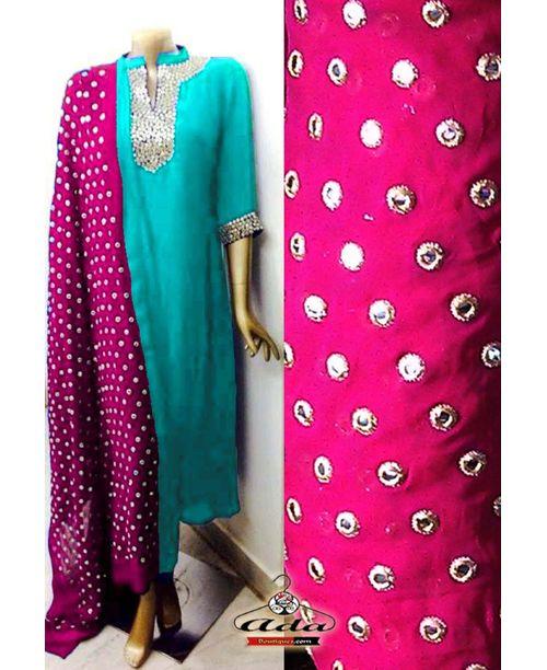 Sizzling Pink / Turqoise Mirror Work Dress