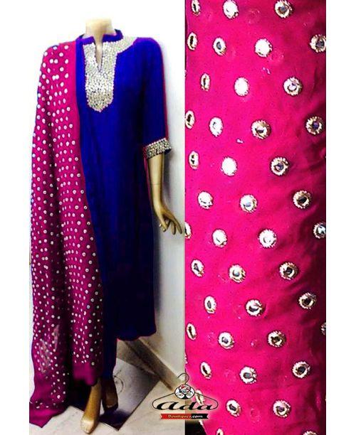 Sizzling Pink / Blue Mirror Work Dress