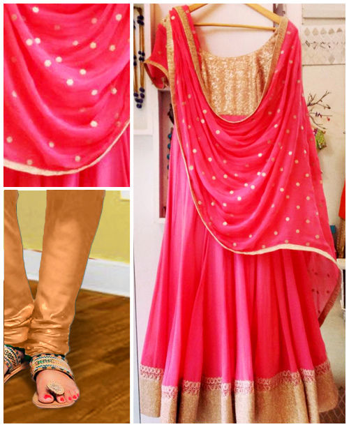 Pink/Beige Anarkali Dress