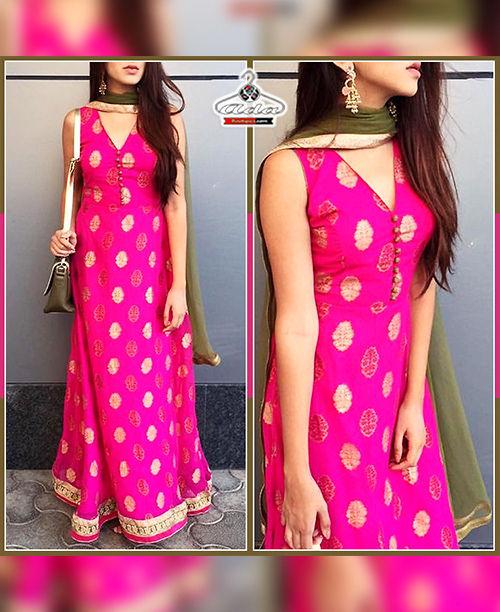 Pink  / Green Gown  Dress