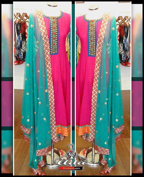 Pink/Blue Anarkali Dress