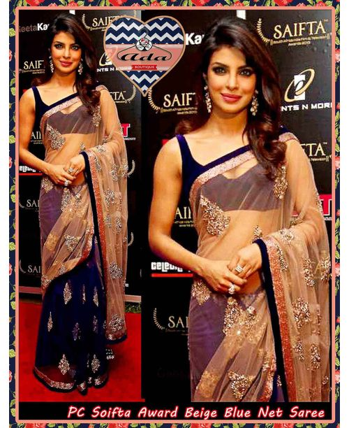 Stunning Priyanka Blue/Beige saree