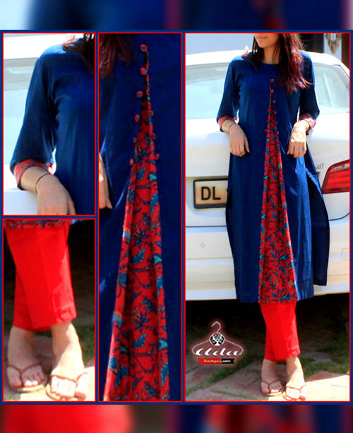 Fancy Blue/Red Casual Dress