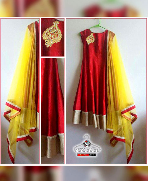 Red/Mustard Anarkali Dress