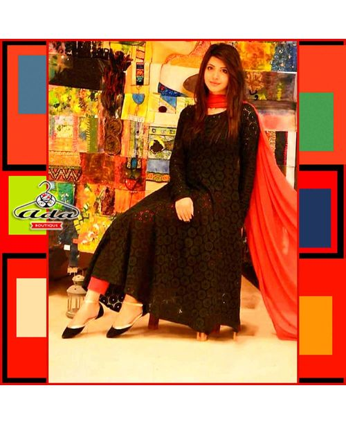 Stylish Black Cutwork Dress