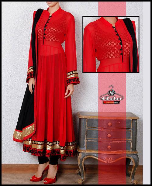 Black/Red Anarkali Dress