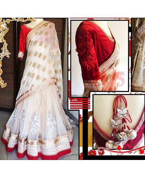 Stylish Red White Lehenga