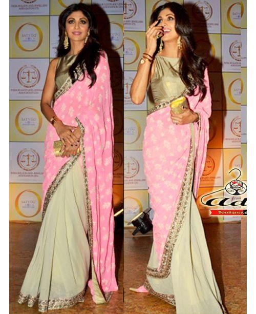 Pink Shilpa Replica Saree