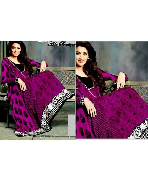 Sonali Bendre Dark Purple Stylish Anarkali