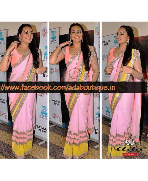 Sonakshi Sinha Beautiful Pink Saree