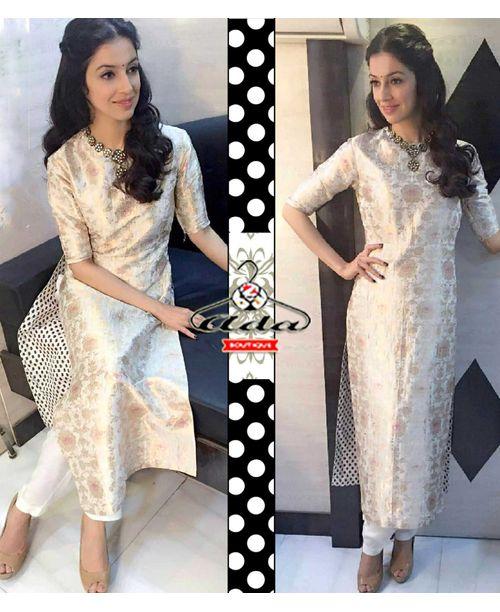 White Banarasi Dress