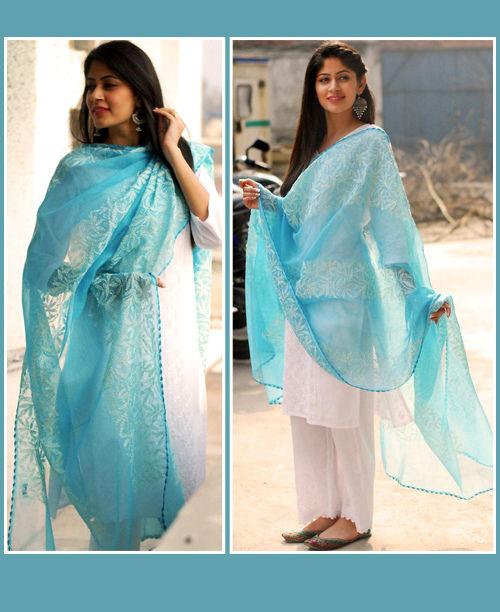 Classy White /Blue Dress