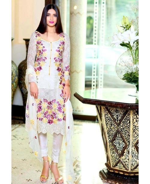 Stylish White Floral Dress