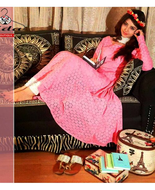 Pink Cut Work Dress