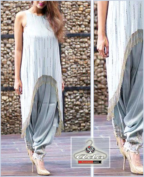 White/Grey Indo-Western Outfit
