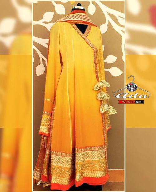 Mustard A Shaped Anarkali Dress