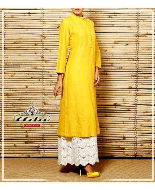 Stylish Yellow /White Trendy Dress