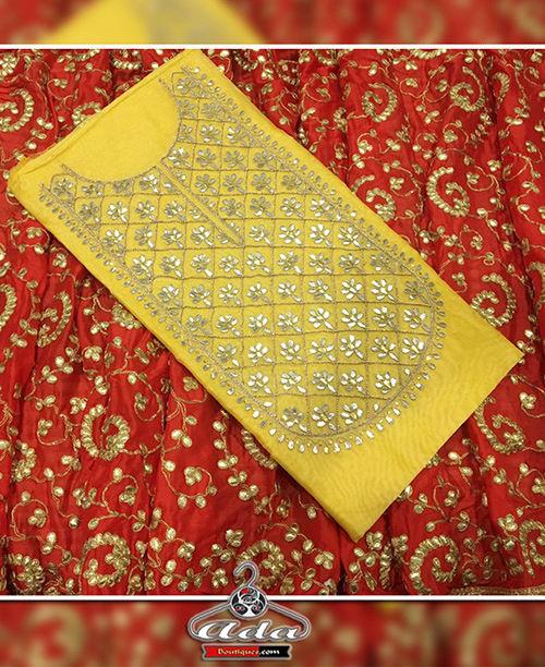 Yellow/Red Gotta Patti Dress