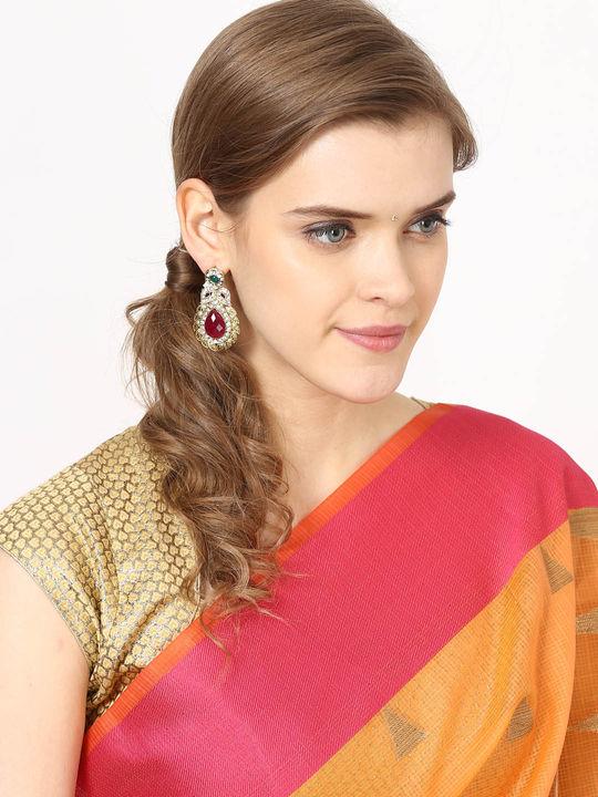 Aujjessa Gold Jhumki Earring with Marron Stone