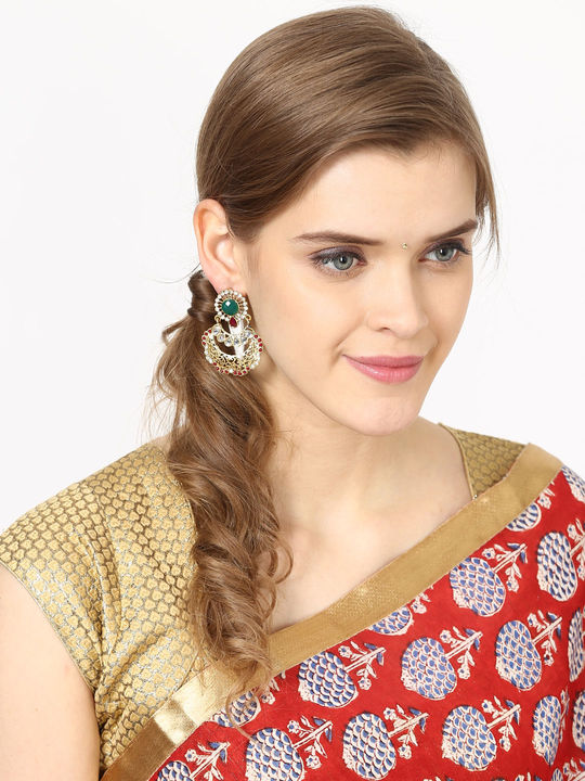 Aujjessa Drop Earring with Enamel & Stone Work