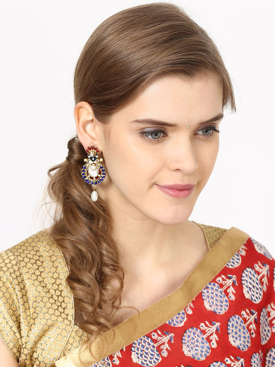 Aujjessa Gold Drop Earring with Red Stone
