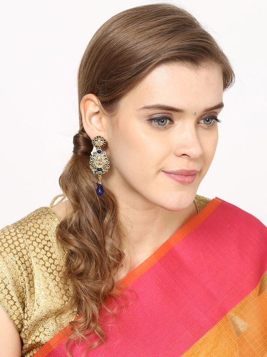 Aujjessa  Red Drop Earring with Enamel Work